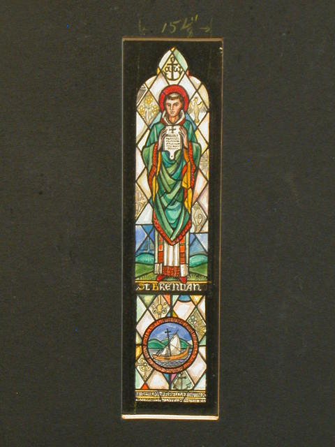 [Design drawing for stained glass memorial window showing St. Brendan with ship, and anchor]