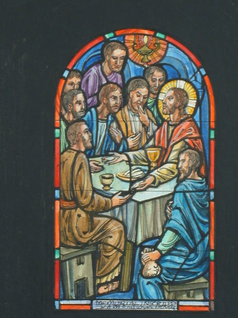 [Design drawing for stained glass memorial window showing the Last Supper, with lamp, Judas, money bag, chalice, and bread]