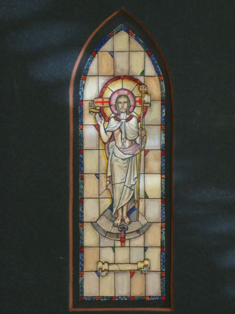 [Design drawing for stained glass memorial window showing Triumphant Christ with flag, stigmata for St. John's Church in Frostburg, Maryland]