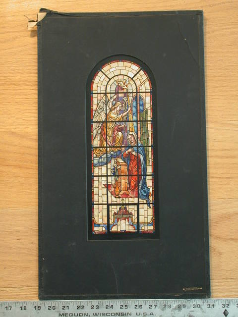 [Design drawing for stained glass memorial window with Annunciation]