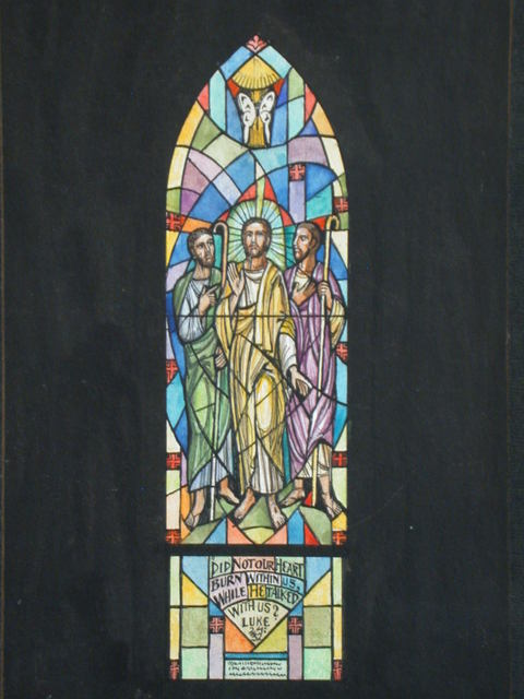 "[Design drawing for stained glass memorial window with butterfly and text ""Did not our Heart Burn within us, while He Talked with us? (Luke 24:32, Given to the Glory of God and in loving memory of Dorothy P Van Gorder by the Alden A. Van Gorder by the Alden A. Van Gorder family and friends"" for Church of Our Savior in Plainville, Connecticut]"