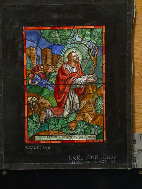 [Design drawing for stained glass memorial window with Christ praying]
