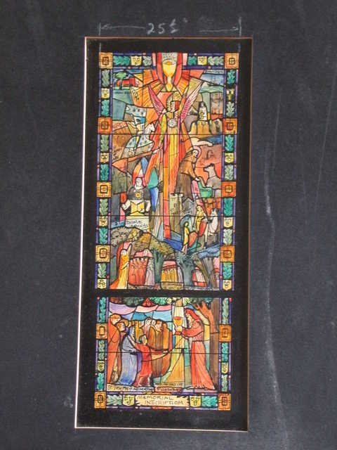 [Design drawing for stained glass memorial window with Christian Ministry, Holy Grail, Wadesboro, N/SC(?), Jamestown, St. Joan of Arc, St. Francis, Thomas Aquinas, St. Martin of Tours, The Work of St. Nimian in Ancient Druid England, St. Joseph of Arimathea, and the holy cup of Glastonbury]