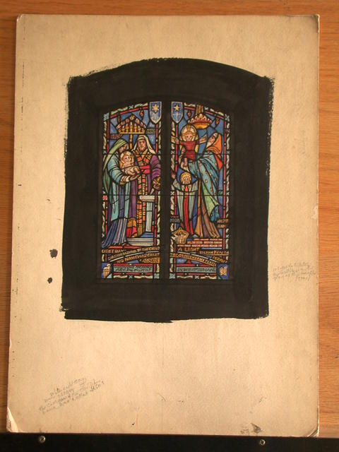 [Design drawing for stained glass memorial window with Circumcising; A Light to Lighten; and Israel]
