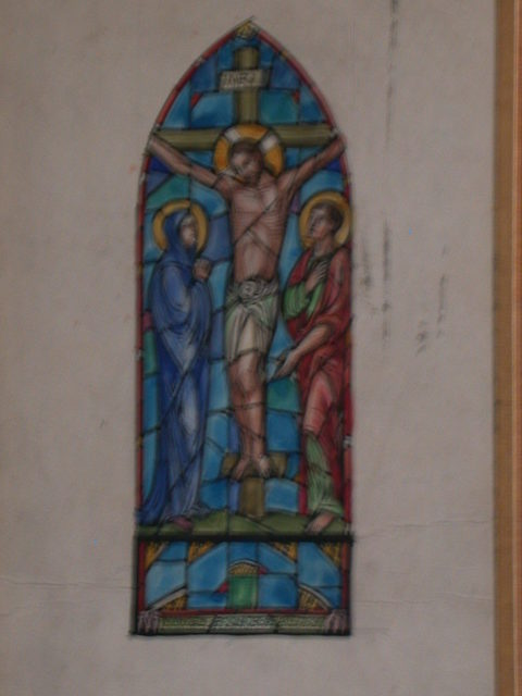 [Design drawing for stained glass memorial window with Crucifixion]
