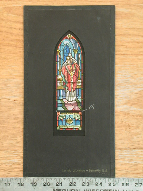[Design drawing for stained glass memorial window with Holy Eucharist]