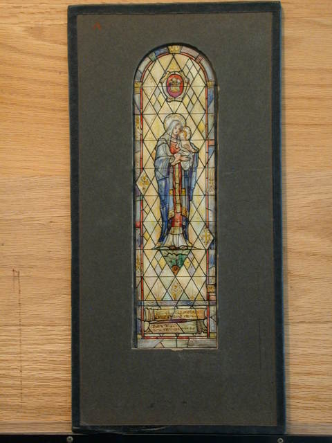 [Design drawing for stained glass memorial window with Madonna and Child]