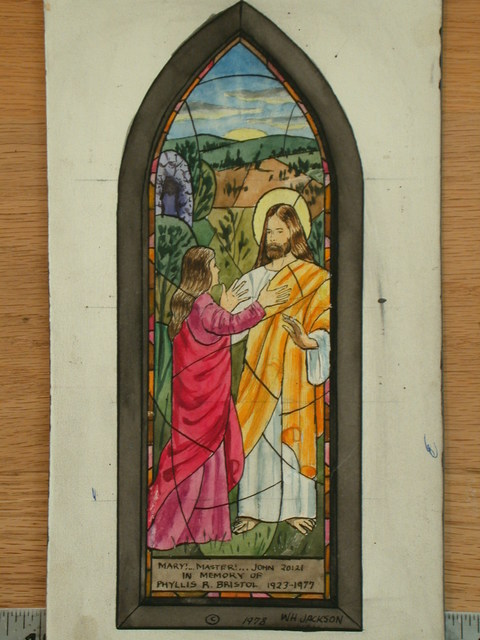 """[Design drawing for stained glass memorial window with """"Mary!...Master!..."""" and Noli Me Tangere scene]"""