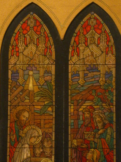 [Design drawing for stained glass memorial window with Nativity and Adoration]