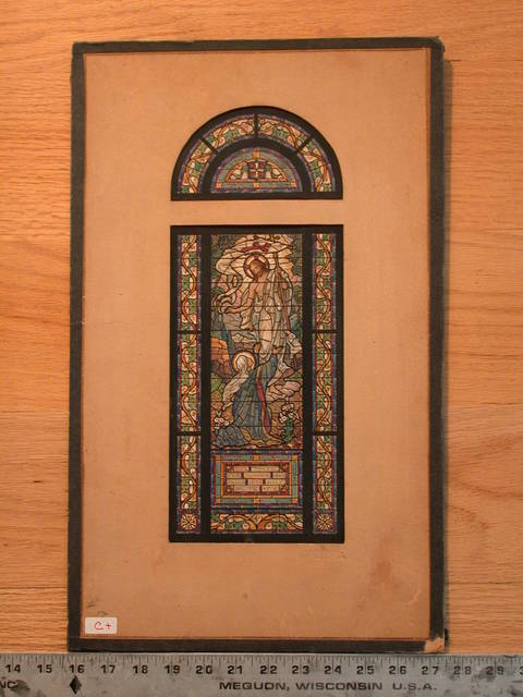 [Design drawing for stained glass memorial window with Noli Me Tangere]