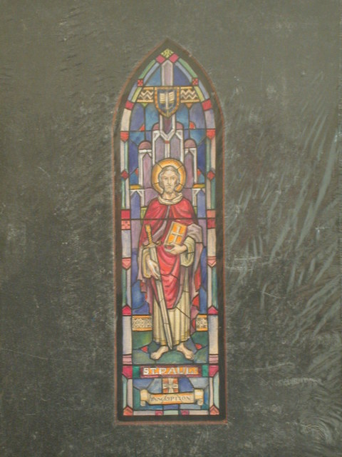 [Design drawing for stained glass memorial window with St. Paul; memorial for Marion Sotham McCarty]