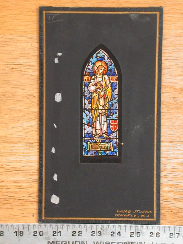 [Design drawing for stained glass memorial window with St Philip]