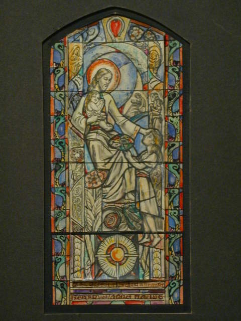 [Design drawing for stained glass memorial window with Suffer the Little Children; with crook and heart, floral motif]