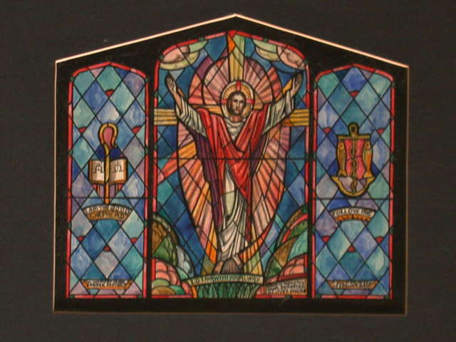 "[Design drawing for stained glass memorial window with symbols and text ""Lo I Am With You Alway"" [sic] for Bergen Church Chapel]"