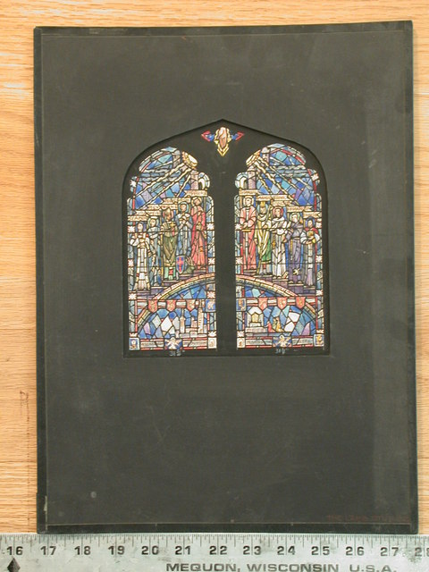 [Design drawing for stained glass memorial window with ten saints beneath hand of God and above a rainbow and cityscape]