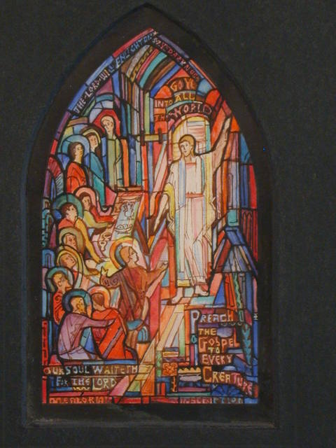 """[Design drawing for stained glass memorial window with text """"... Preach the Gospel to Every Creature"""" and """"Our Soul Waiteth for the Lord"""" for Ginter Park Baptist Church in Richmond, Virginia]"""