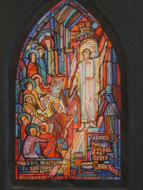 "[Design drawing for stained glass memorial window with text ""... Preach the Gospel to Every Creature"" and ""Our Soul Waiteth for the Lord"" for Ginter Park Baptist Church in Richmond, Virginia]"