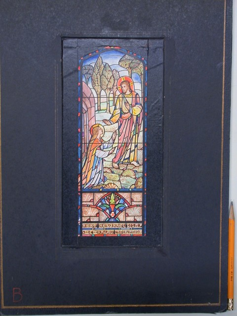 [Design drawing for stained glass memorial window with The Resurrection and Noli Me Tangere]