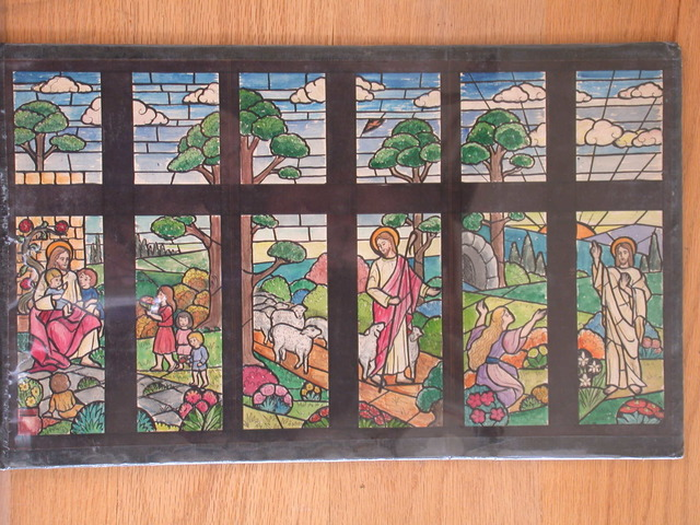 [Design drawing for stained glass multi-window cartoon composition with multiple depictions of Christ: Suffer the Little Children, Good Shepherd, and Noli Me Tangere in linear continuous landscape]