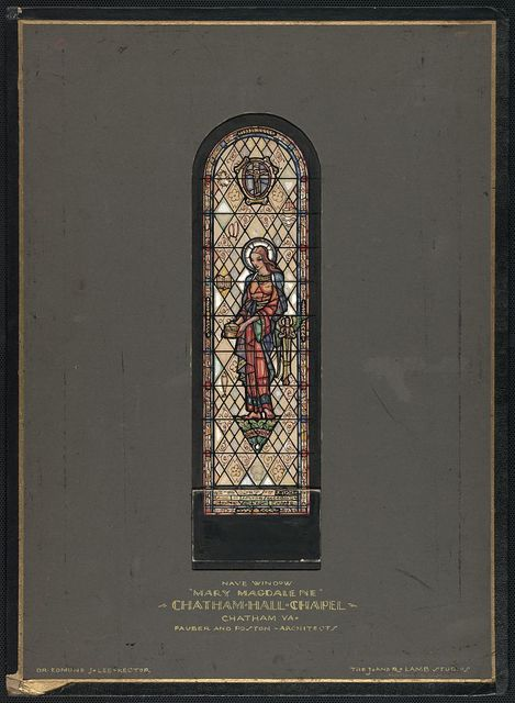 [Design drawing for stained glass nave window for Chatham Hall Chapel in Chatham, Virginia, with Mary Magdalene, highly stylized]