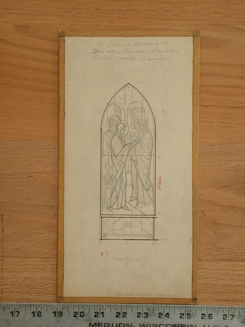 """[Design drawing for stained glass presentation memorial window with text """"In loving memory of Doswell Shirley Edwards, Elias Warren Edwards]"""
