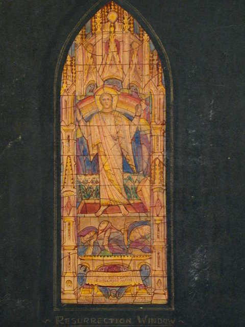 [Design drawing for stained glass Resurrection Window with open rectangular sarcophagus/tomb, and rainbow in architectural frame]