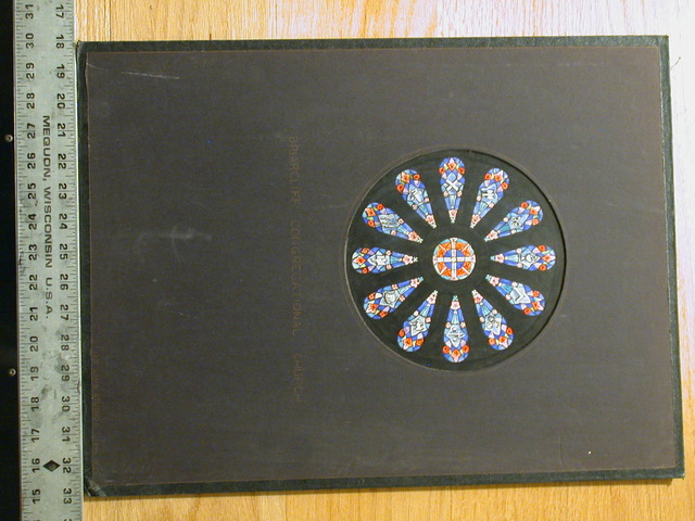 [Design drawing for stained glass Rose window for Briarcliff Congregational Church]