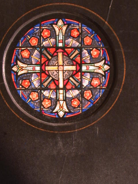 [Design drawing for stained glass Rose window with Cross and twelve flowers for Apostles]
