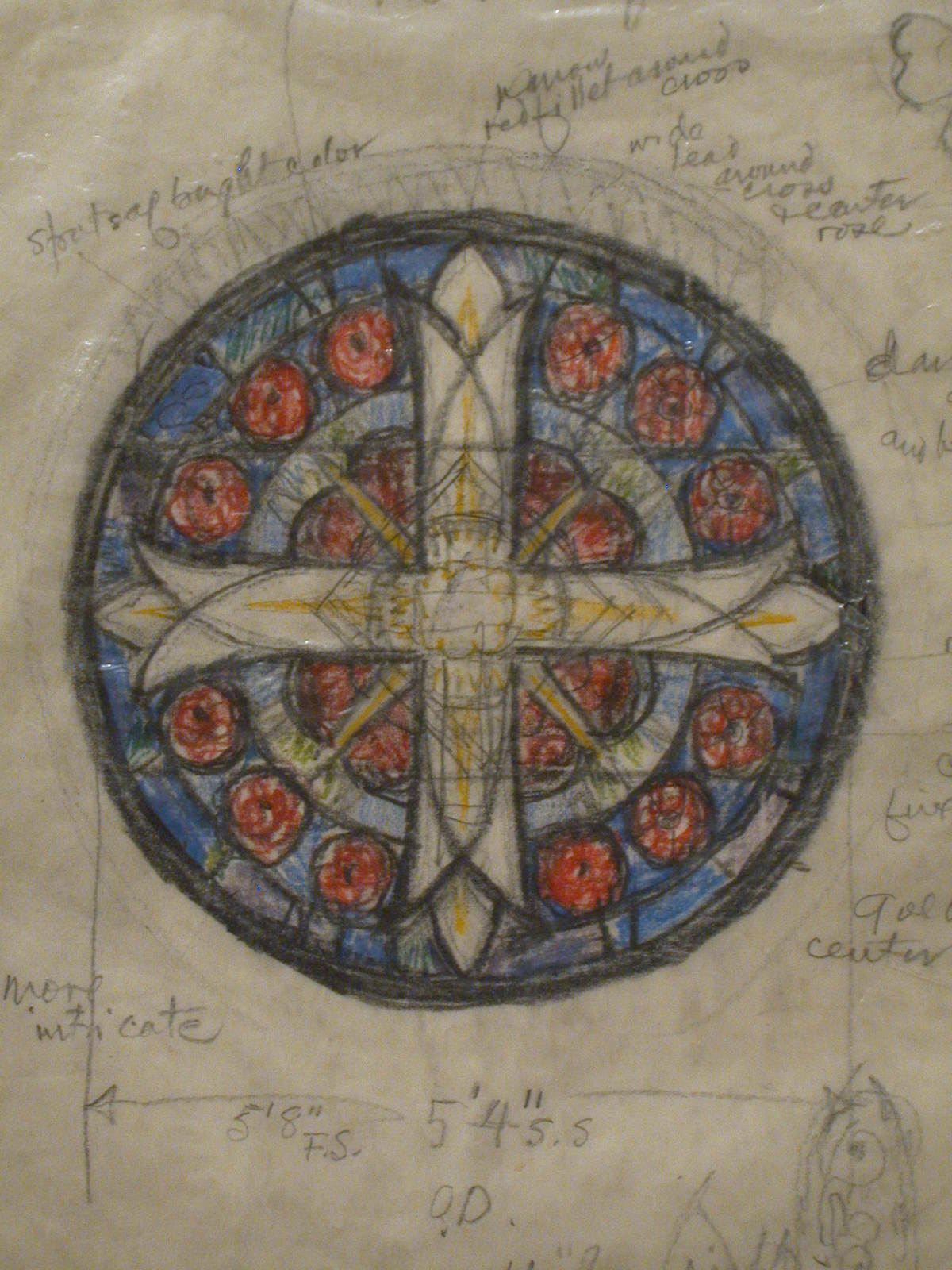 Design drawing for stained glass Rose window with Greek