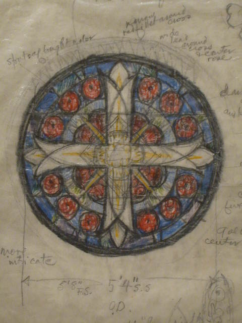 [Design drawing for stained glass Rose window with Greek cross for John's Memorial Church in Farmville, Virginia]
