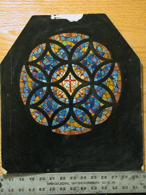 [Design drawing for stained glass Rose window with Latin Cross at center for First Methodist Church in Monroe, Louisiana]
