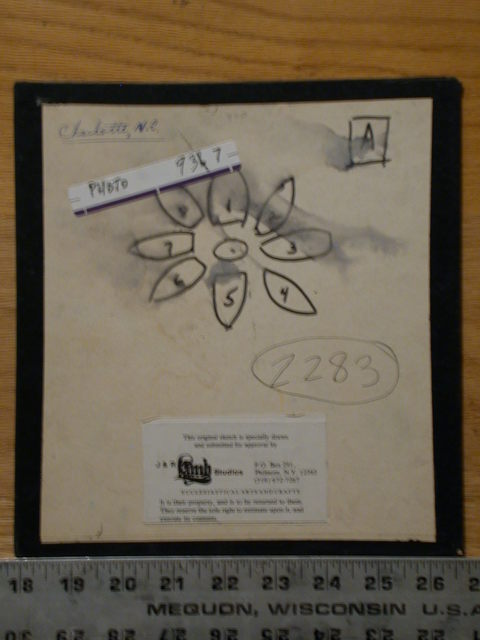 [Design drawing for stained glass rose window with symbolic petals, Charlotte, North Carolina]
