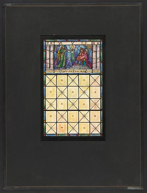 "[Design drawing for stained glass showing Nathan and King David with text ""Thou Art The Man""]"