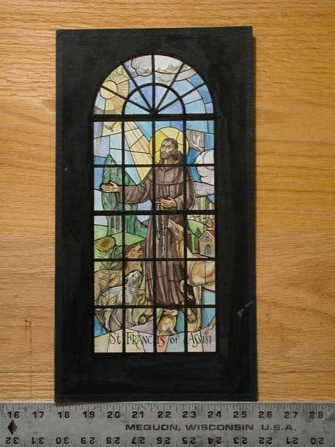 [Design drawing for stained glass showing St Francis of Assisi with animals, and architecture (some modern skyscrapers?)]