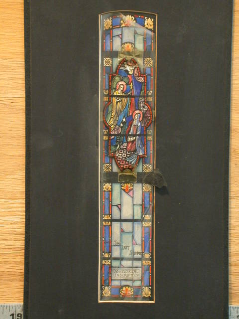 [Design drawing for stained glass showing The Annunciation]