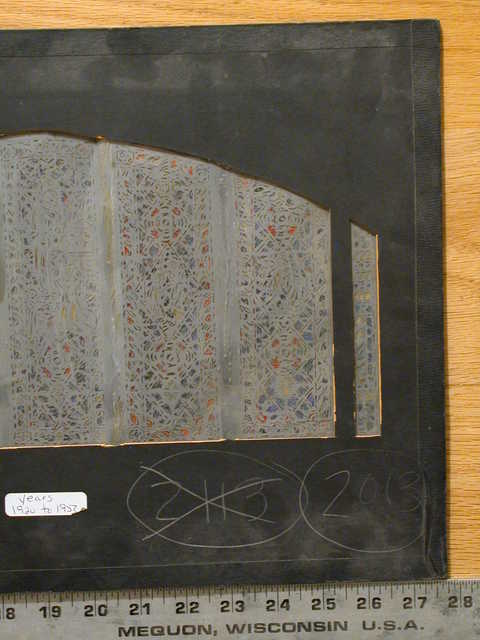 """[Design drawing for stained glass side window """"This Is My Beloved Son...""""]"""
