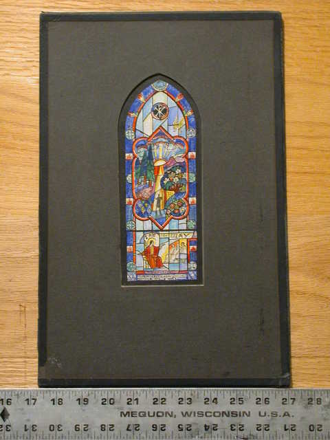 """[Design drawing for stained glass Smith memorial window """"I am the Way"""" for St. George's Church]"""