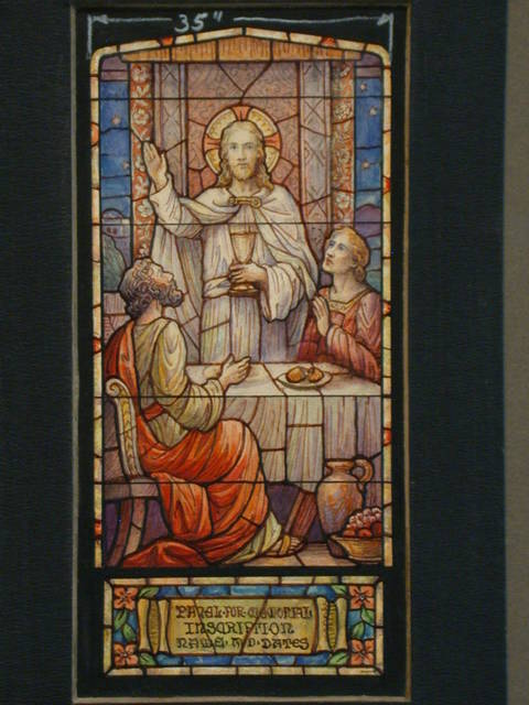 [Design drawing for stained glass Southwick Memorial Window showing beatific Last Supper]