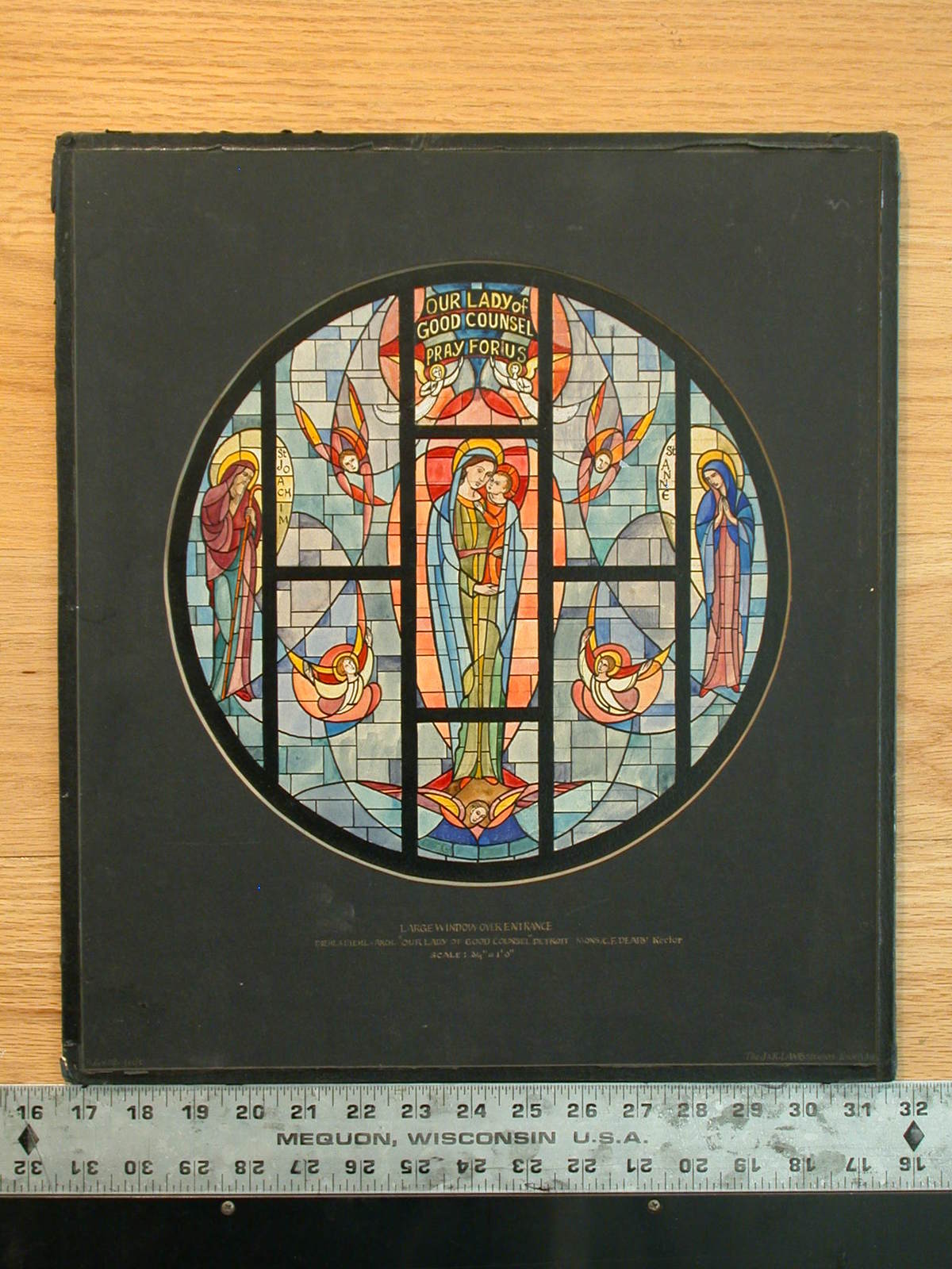 """[Design drawing for stained glass tondo """"Our Lady of Good Counsel, Pray For Us"""" showing Madonna and Child with St. Joachim, St. Anne, and angels, on mid grid for Our Lady of Good Counsel in Detroit, Michigan]"""