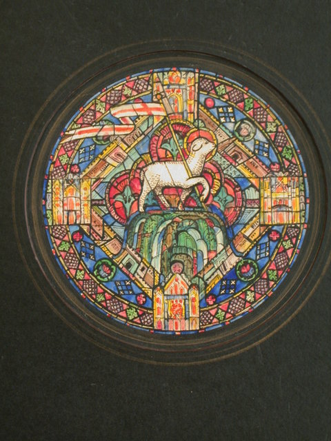 """[Design drawing for stained glass tondo window """"The Lamb on Mount Zion and Four-Square City of New Jerusalem"""" showign lamb with and elaborate detailing including grape/leaf border and Jerusalem/architectural motif]"""