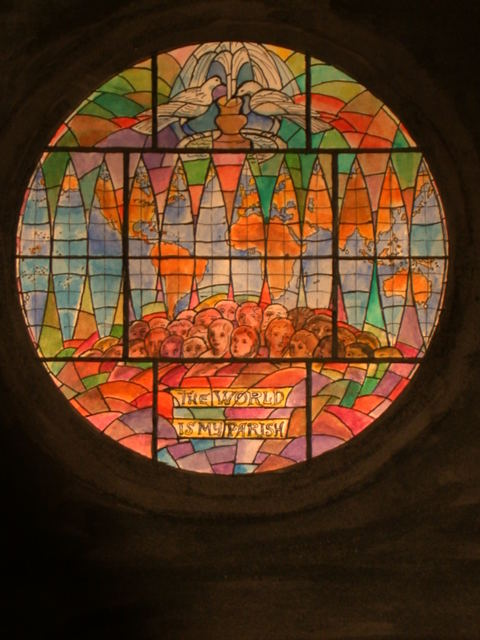 """[Design drawing for stained glass tondo window with map, doves at fountain, and faces of all colors with text """"The World Is My Parish""""]"""