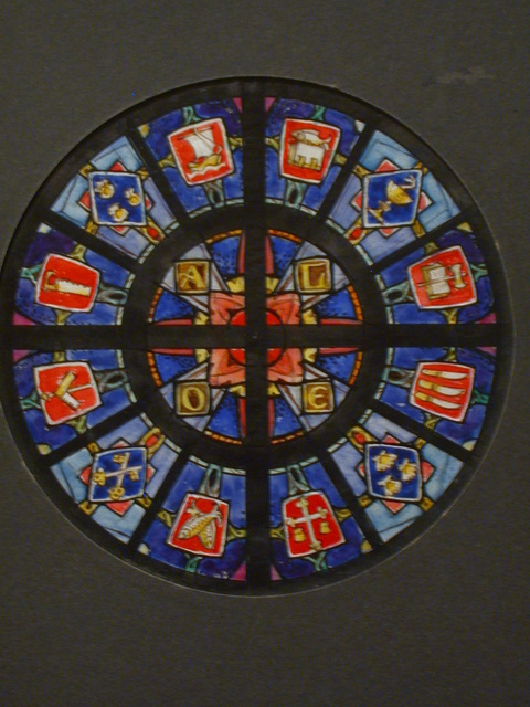 [Design drawing for stained glass Tondo window with twelve symbols]