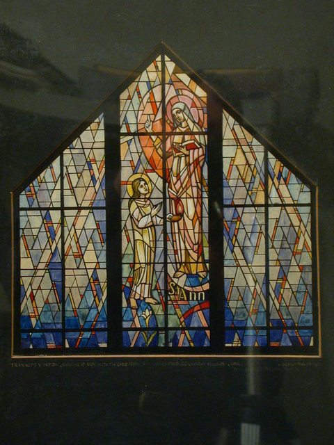 [Design drawing for stained glass transept window with St. Ann for St. Gertrude Roman Catholic Church in Wilson, Connecticut]