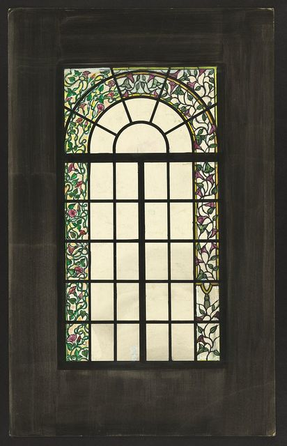 [Design drawing for stained glass translucent round-arched window with asymmetrical floral and tassel border]