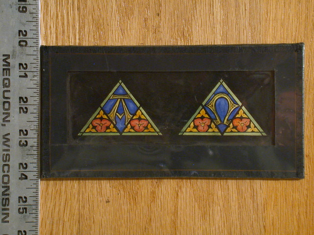 [Design drawing for stained glass triangular windows in Arts and Crafts style with trefoil flowers, and Alpha/Omega]