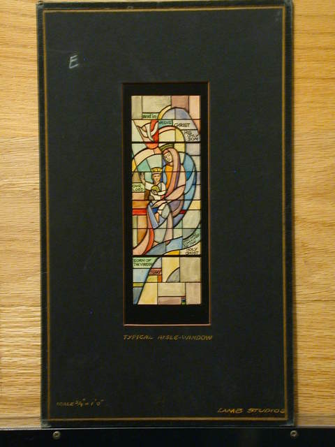 [Design drawing for stained glass typical aisle window showing Young Christ with Mary and Holy Sprit]