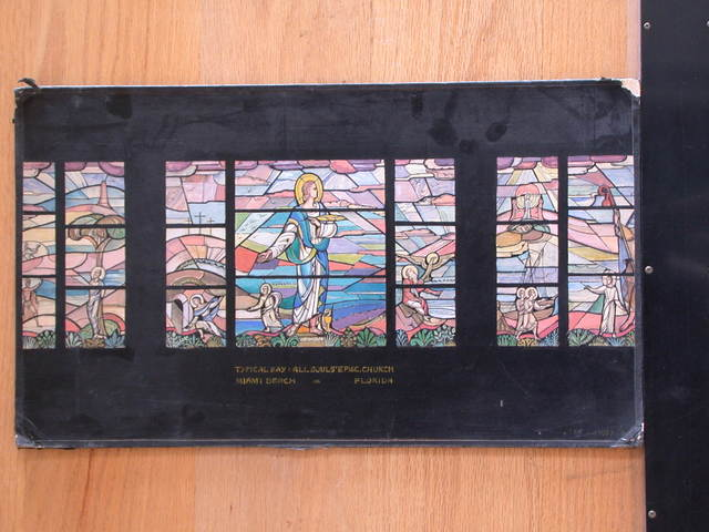 [Design drawing for stained glass typical bay window with St. John for All Souls Episcopal Church in Miami Beach, Florida]