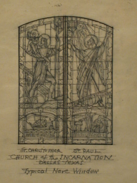 """[Design drawing for stained glass """"typical nave"""" window with St. Christopher and St. Paul for Church of the Incarnation in Dallas, Texas]"""