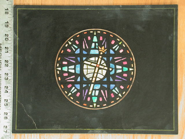 [Design drawing for stained glass window; a boldly-rendered, heavy-muntined star, cross and crown rose window]