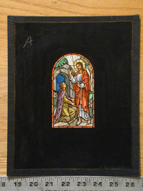 [Design drawing for stained glass window about Easter: Mary Magdalene kneels to Resurrected Christ]